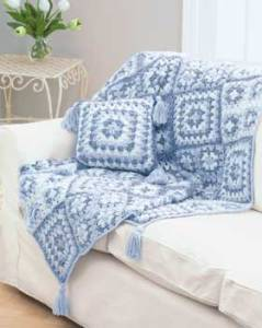 blue and white throw