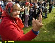 old lady giving finger